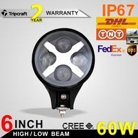 2PCS ROUND 6'' CR EE 60W LED WORK LIGHT DRIVING LIGHT CAR SPOT/FLOOD OFFROAD MACHINERY 4WD ATV SUV 12V 24V 60W LED WORK LIGHTS