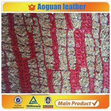 2016 Knitted leather metallic pattern for shoes materials leather
