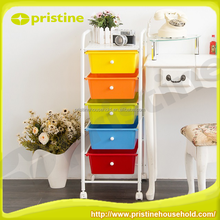 High quality plastic drawer Plastic 5 Tiers Drawer Trolley with Wheels