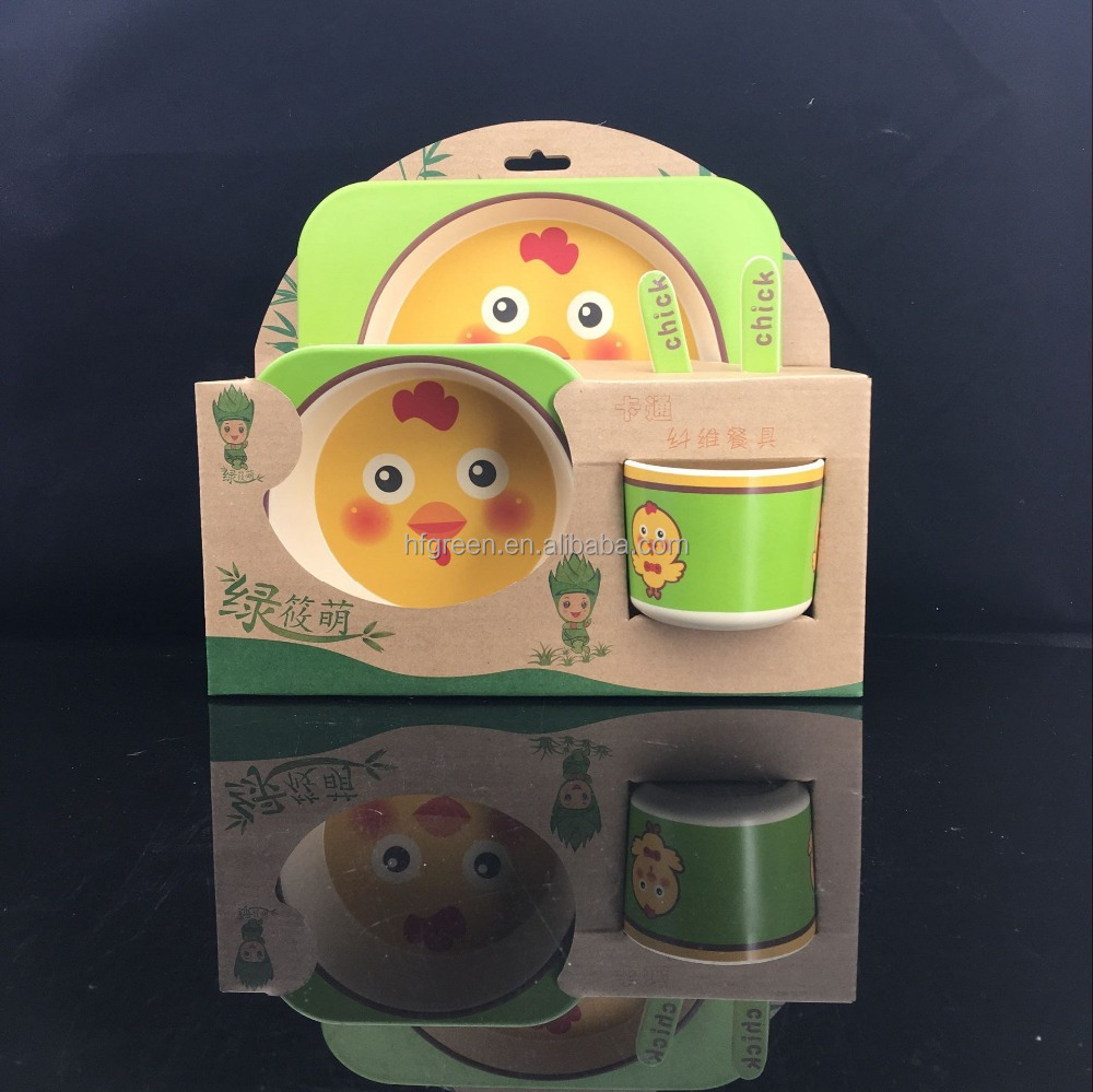 Popular biodegradable bamboo fibre kids' dinner set