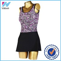 Trade Assurance Yihao 2015 Women Floral Print Sports Gym Dance Costume Wear Tennis Dress