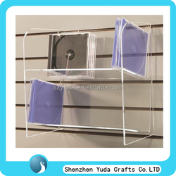 Wall mounted cheap acrylic customized VCD/ DVD/cd display shelf racks/ shelf / stand