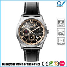 Custom mechanical watches series Power Reserve Miyota 9100 movt mens watch with black genuine leather strap