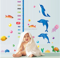 kindergarten Cute dolphine growth chart eco-friendly removable Wall Sticker DIY Kids Bedroom & Baby Nursery Vinyl Decal