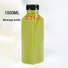 Empty 1000ml French Square Plastic Beverage Bottle 33oz Juice Water Plasti Bottle