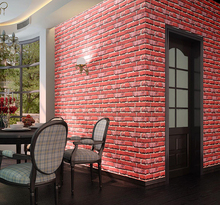 Vintage lpvc self adhesive wall paper 3d retro design red brick stone waterproof vinyl Wallpaper for cafe home hotel decor