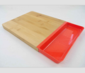 bamboo cutting board with magnetic storage basket