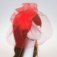 Fashion hair fascinator Veil Feather headbands lace wedding hair accessories for bride