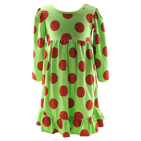New design boutique red green polka dot baby winter dress beautiful children dress girl clothes christmas infant dress
