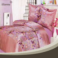 pink flower lovely bedspreads satin patchwork quilt bedspreads made in China