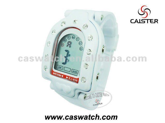 White diamond digital watch