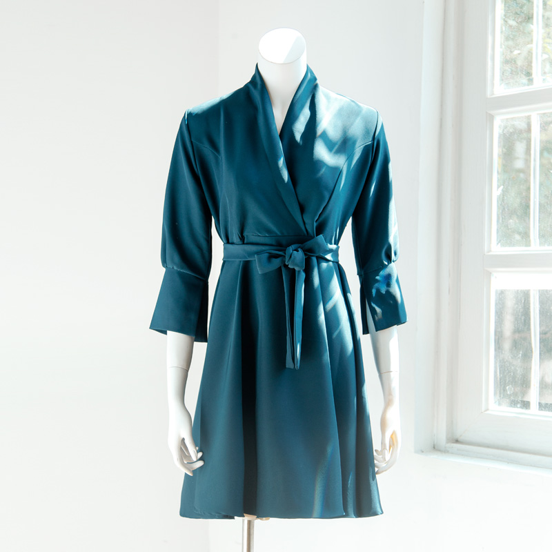U.S. autumn office lady suit plain color sexy V neck 3/4 puff sleeve with belt loose fit midi A line blazer dresses