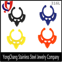 Non-piercing Septum Jewelry 10MM Acrylic Tribal Clip on Hanger Fake Illusion Nose Nipple Ring
