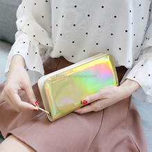 New Arrival Fashion Laser Long Zipper Leather Wallets Purse for Women