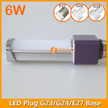 G24 E27 led 180 degree led down light pl lamp 6watt