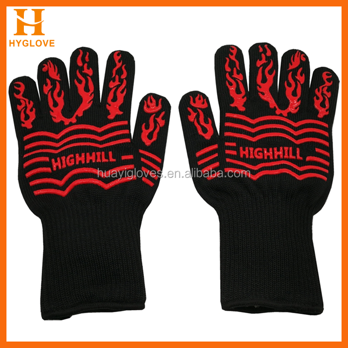 BBQ OVEN Mittens 932F Heat Resistance Barbecue Gloves Aramid Fiber Made Silicone Coated Oven Grill Cooking BBQ Gloves