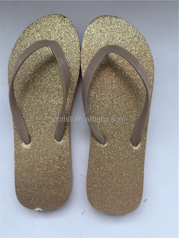 Unique Gold style flip flops Glitter ladies slipper women outdoor walker shoes