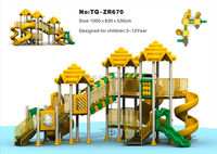 Plastic Slide Kids Playground Equipment with Animal Roof