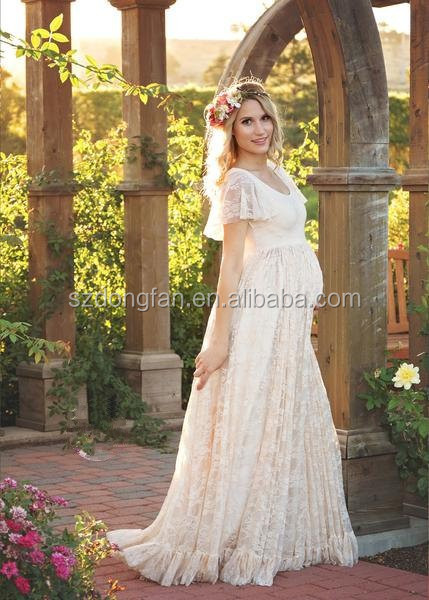 Women Maternity Lace Gown Dress For Photo Shoot White Lace Long Frock Design Wedding Dresses