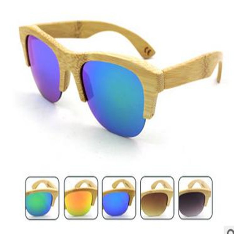 Half bamboo skeleton sunglasses private label polarized UV400 sun protect natural spring sun glass for women