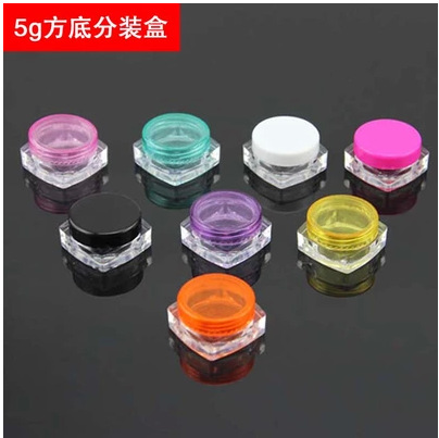 3g/5g transparent square round cream bottle jars pot container empty cosmetic plastic sample container for nail art storage