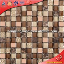 Brown Luxury Muronam Glass Tile Mosaic Mix Metal for Kitchen Living Room Subway (KS208)