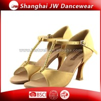 Professional New Style Satin Lady Ballroom Latin Dance Shoes with Bling Crystal