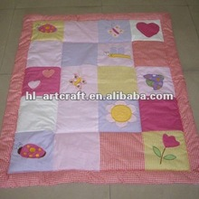 Red Flower Applique Cotton Padded Quilt
