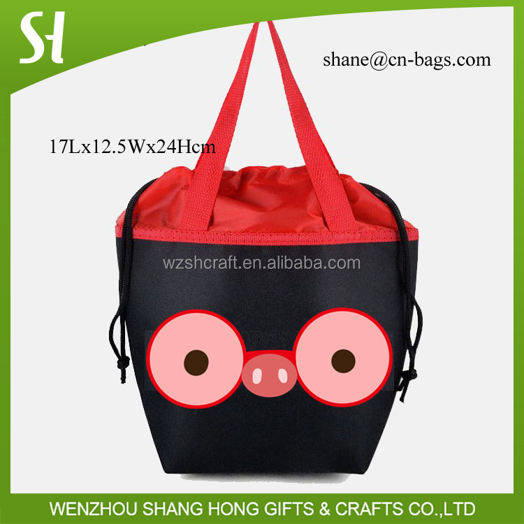 black waterproof nylon drawstring bag/drawstring type polyester cheap cooler bag silk screen print