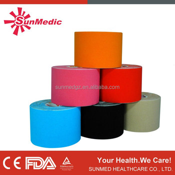 Adhesive tape for skin, CE approved kinesiology cotton different shape sport(athletic) tape, medical sport tape skin sport tape