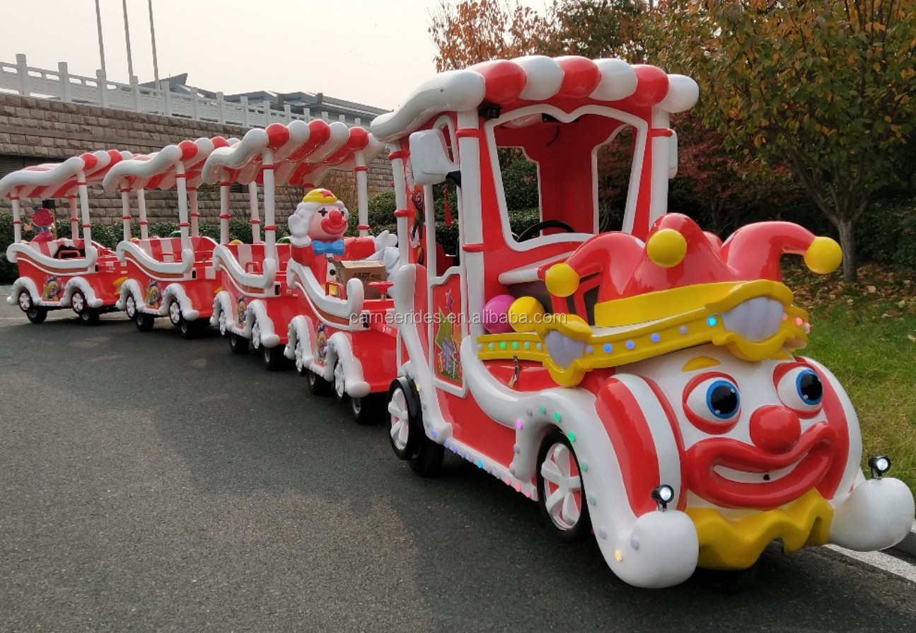 Attractions Shopping Malls Kids Fun Rides Electric Clown Train Carnival Trackless Train