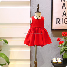 Wholesale baby girl dress summer sleeveless red party princess girl dress