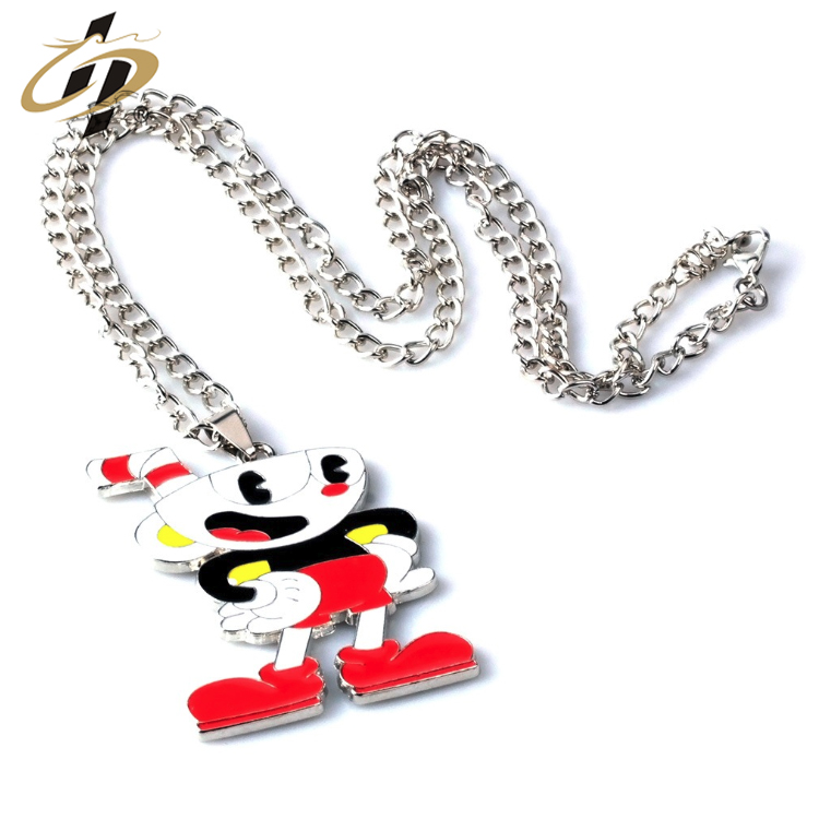 Wholesale custom hard enamel metal cartoon funny necklace with pendant