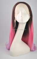 S0022 ombre brown/pink/pink color long curly synthetic hair wigs for cosplay/party,lace front wigs