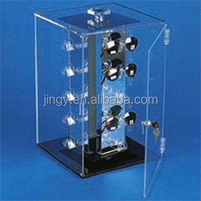 clear rotating locking sunglass display cabinet