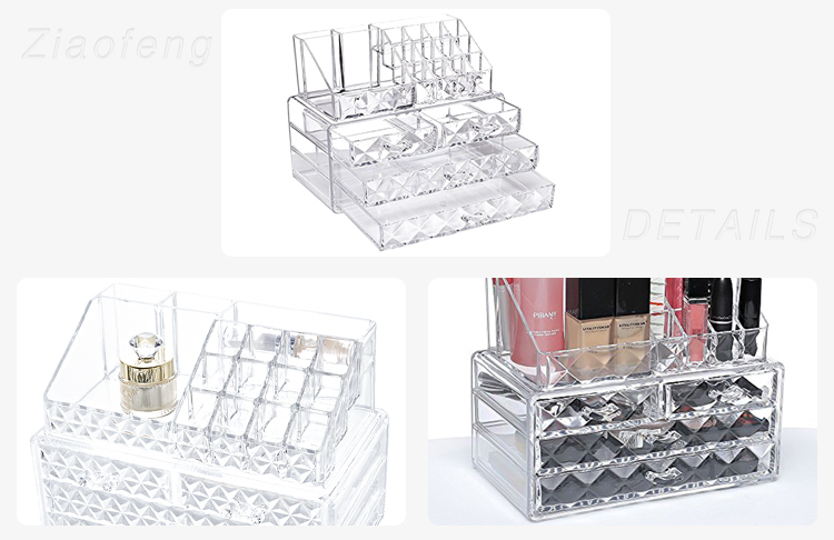 Custom Made Home Storage Drawer Acrylic Makeup Organizers With Lid
