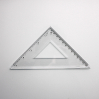 Hot sell 45 degree plastic drafting triangular angle ruler school sdudent transparent