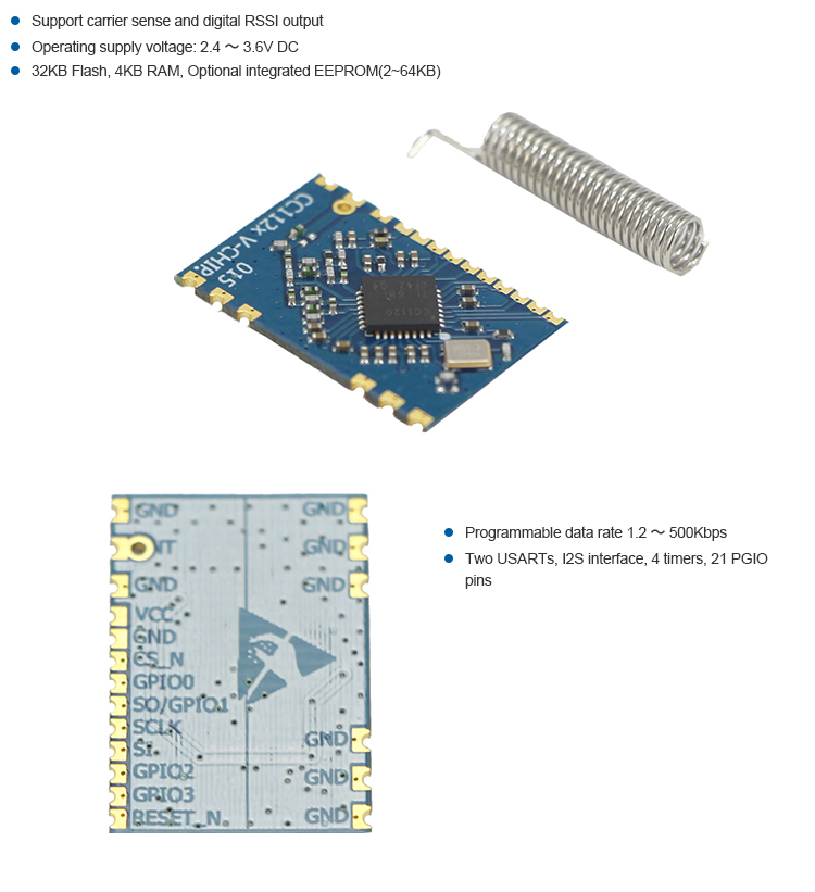 CC1120 433Mhz 868Mhz 915Mhz RF module of TI chip wireless module