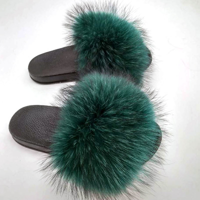 Top quality indoor custom fur slippers beach raccoon fur slides <strong>for</strong> <strong>sale</strong>