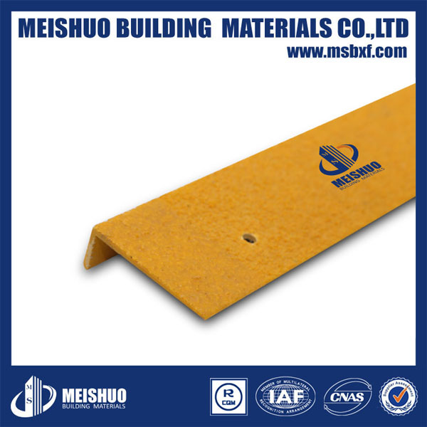 FRP Stair Nosing Strips with Grit Inlay/Anti Slip Fibreglass Stair Nosing/GRP Step Cover