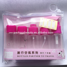 Clear PVC Cosmetic Travel Bottle Kit Packing Pouch with Slide Ring Zipper