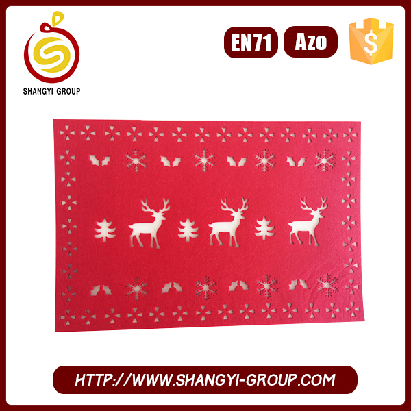Christmas Rectangle laser cut felt marble table runner and placemat