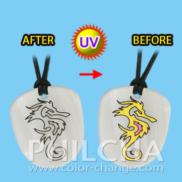 UV Color Changing Shell Pendant Necklace -Dragon Pattern