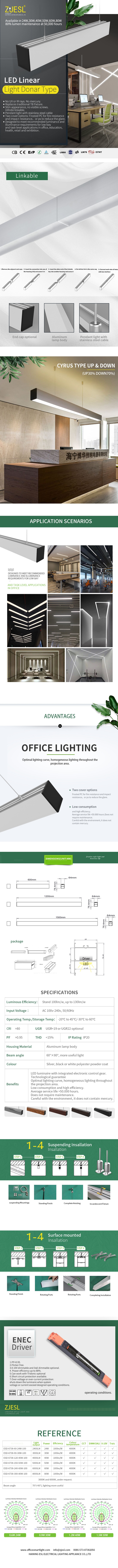 Seamless Linkable 50W LED Linear light Ceiling mounted for commercial and office application