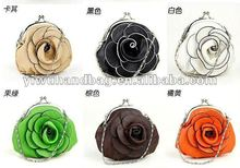 Hot Sell Leather Rose Flower Coin Purse