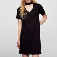 plain choker A line jersey summer dresses