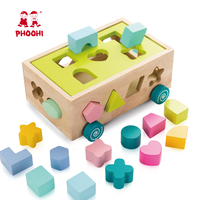 New arrival educational play push car kids wooden shape sorter toys for baby 3+