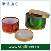 Foldable Round Shape Red Paper Tube Box Paper Tea Box Tea Paper Box