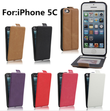 Vertical PU Leather Magnetic Flip Case Cover for iphone 5c Case Wallet