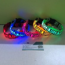Wholesale price USB rechargeable zebra colorful LED dog collar